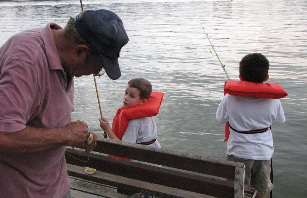 Yup, dads like to fish.